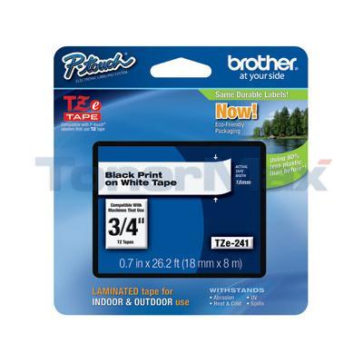 BROTHER TZ LAMINATED TAPE BLACK ON WHITE 0.7 IN X 26.2 FT
